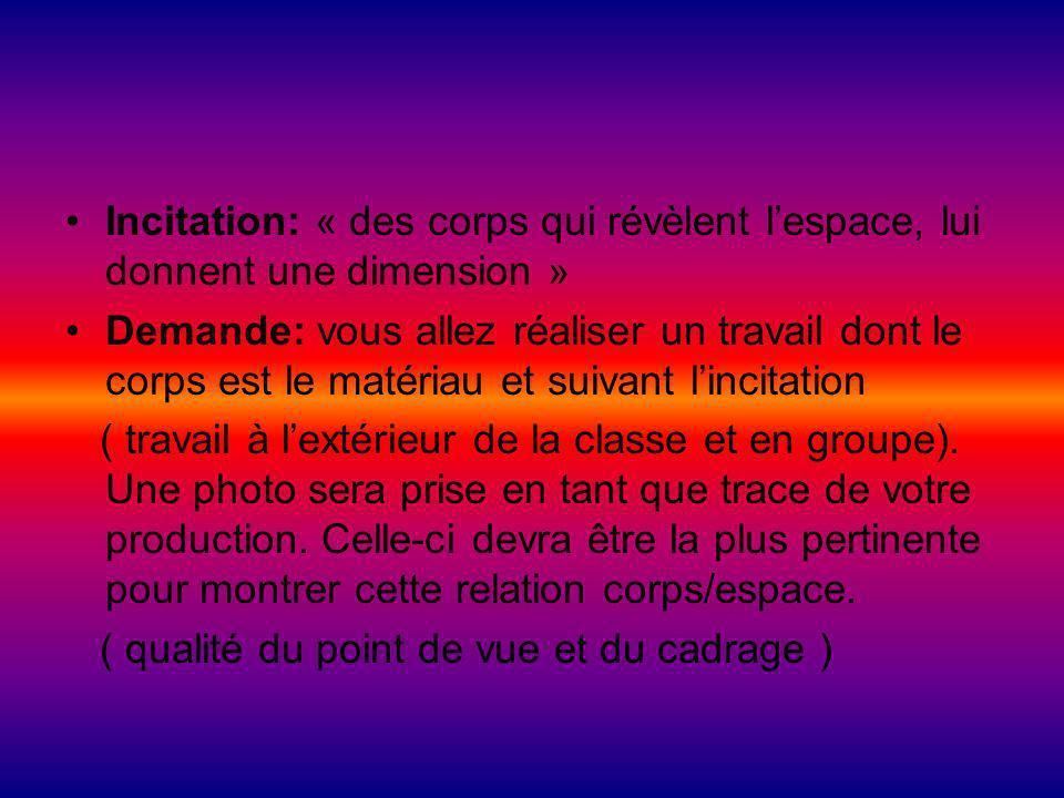 Incitation: « des corps qui révèlent lespace, lui donnent une dimension » Demande: vous allez réaliser un travail dont le corps est le matériau et sui