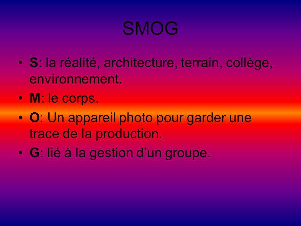 SMOG S: la réalité, architecture, terrain, collège, environnement. M: le corps. O: Un appareil photo pour garder une trace de la production. G: lié à