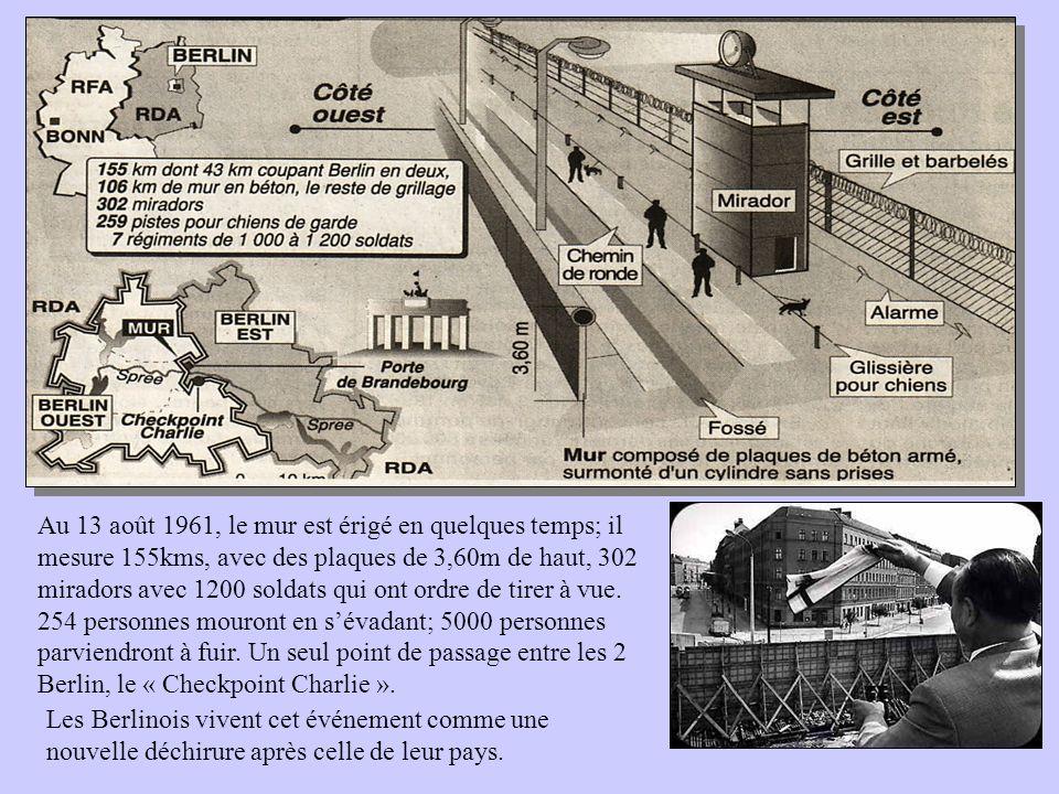 Au 13 août 1961, le mur est érigé en quelques temps; il mesure 155kms, avec des plaques de 3,60m de haut, 302 miradors avec 1200 soldats qui ont ordre