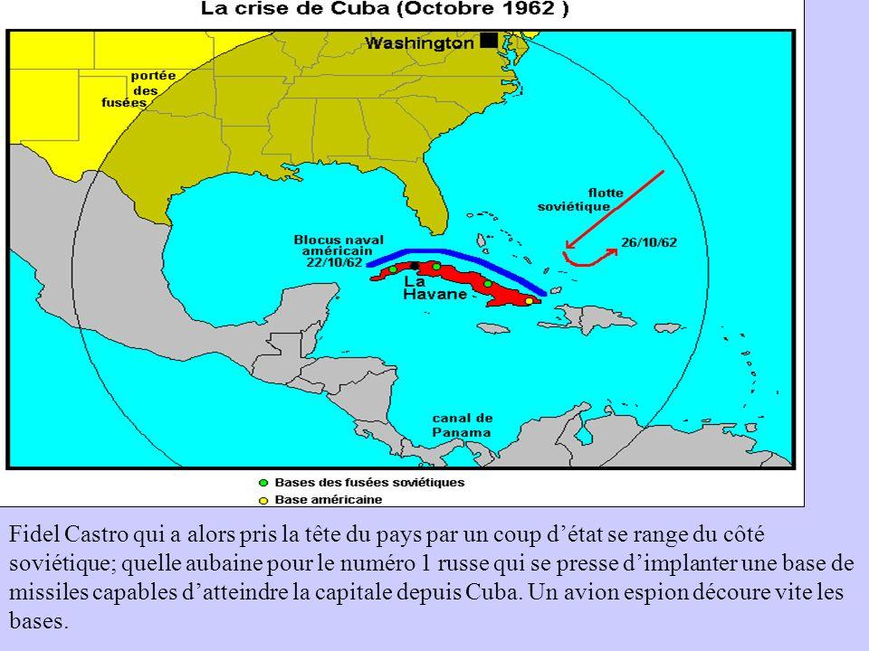 Fidel Castro qui a alors pris la tête du pays par un coup détat se range du côté soviétique; quelle aubaine pour le numéro 1 russe qui se presse dimpl
