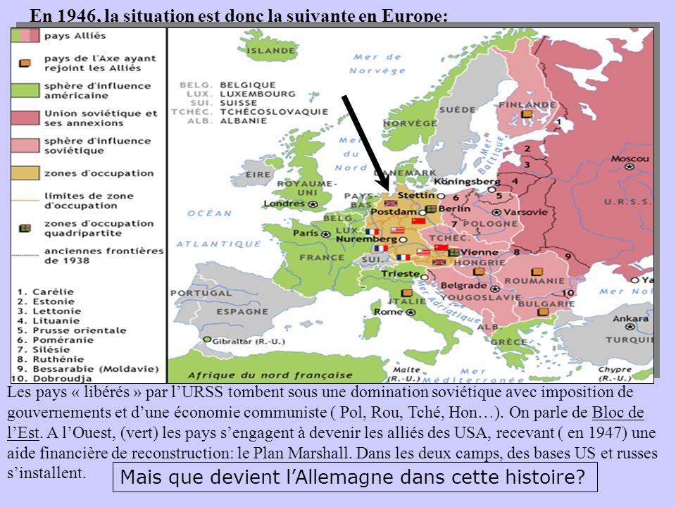 En 1946, la situation est donc la suivante en Europe: Les pays « libérés » par lURSS tombent sous une domination soviétique avec imposition de gouvern