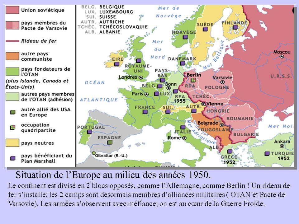 Situation de lEurope au milieu des années 1950. Le continent est divisé en 2 blocs opposés, comme lAllemagne, comme Berlin ! Un rideau de fer sinstall