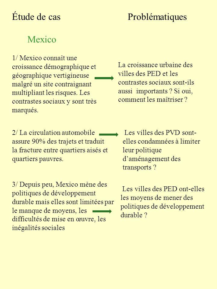 Étude de casProblématiques Mexico 1/ Mexico connaît une croissance démographique et géographique vertigineuse malgré un site contraignant multipliant
