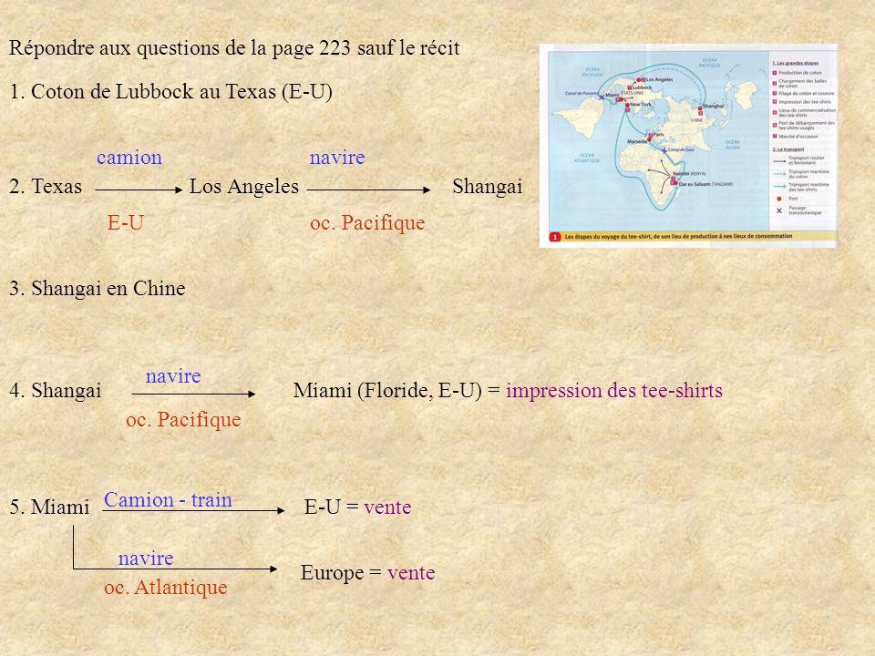 Répondre aux questions de la page 223 sauf le récit 1. Coton de Lubbock au Texas (E-U) 2. Texas Los Angeles Shangai camion navire E-U oc. Pacifique 3.