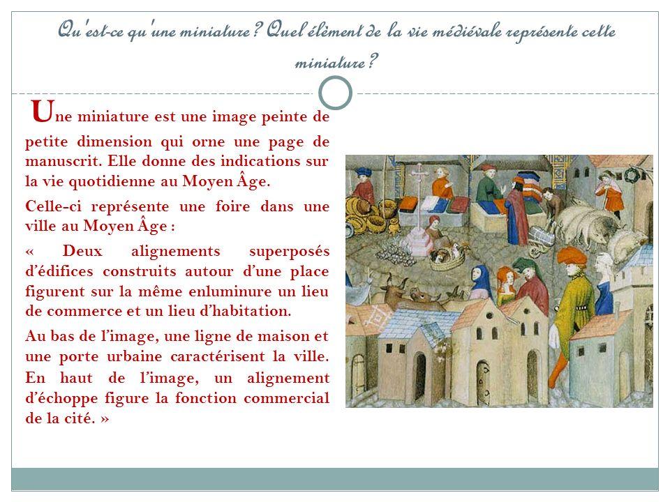 Qu'est-ce qu'une miniature? Quel élèment de la vie médiévale représente cette miniature? U ne miniature est une image peinte de petite dimension qui o