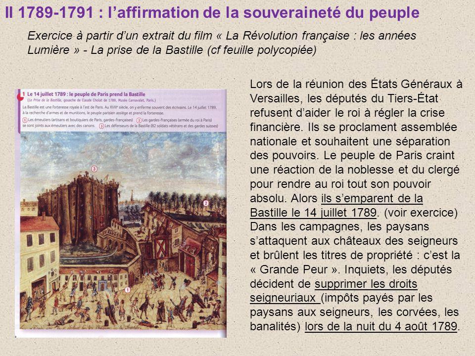 II 1789-1791 : laffirmation de la souveraineté du peuple Exercice à partir dun extrait du film « La Révolution française : les années Lumière » - La p