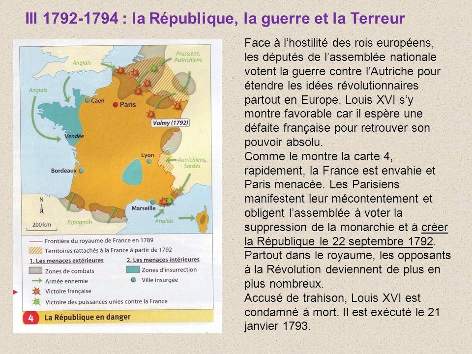 III 1792-1794 : la République, la guerre et la Terreur Face à lhostilité des rois européens, les députés de lassemblée nationale votent la guerre cont