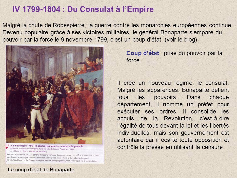 IV 1799-1804 : Du Consulat à lEmpire Malgré la chute de Robespierre, la guerre contre les monarchies européennes continue. Devenu populaire grâce à se