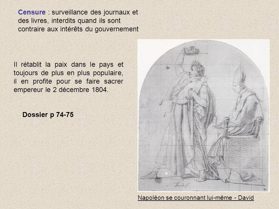 Censure : surveillance des journaux et des livres, interdits quand ils sont contraire aux intérêts du gouvernement Napoléon se couronnant lui-même - D