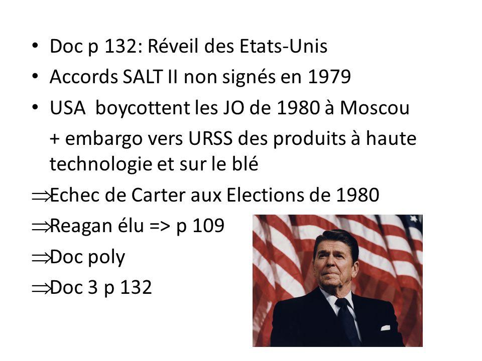 Doc p 132: Réveil des Etats-Unis Accords SALT II non signés en 1979 USA boycottent les JO de 1980 à Moscou + embargo vers URSS des produits à haute technologie et sur le blé Echec de Carter aux Elections de 1980 Reagan élu => p 109 Doc poly Doc 3 p 132