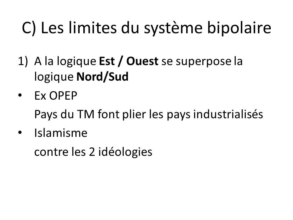 C) Les limites du système bipolaire 1)A la logique Est / Ouest se superpose la logique Nord/Sud Ex OPEP Pays du TM font plier les pays industrialisés Islamisme contre les 2 idéologies