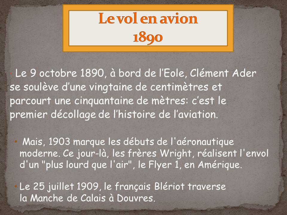 Le 9 octobre 1890, à bord de lEole, Clément Ader se soulève dune vingtaine de centimètres et parcourt une cinquantaine de mètres: cest le premier décollage de lhistoire de laviation.