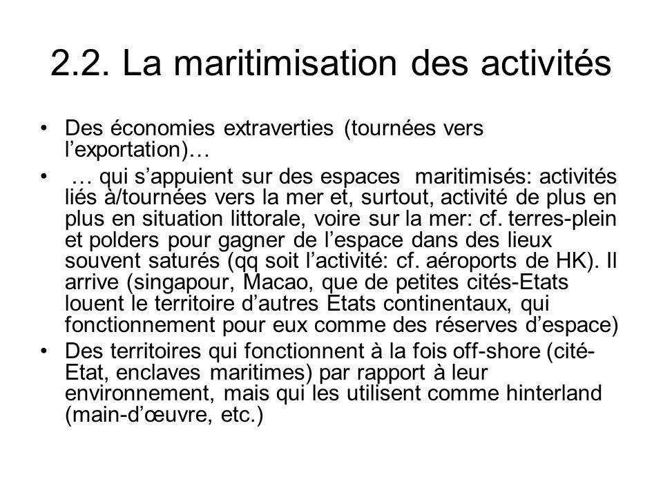 2.2. La maritimisation des activités Des économies extraverties (tournées vers lexportation)… … qui sappuient sur des espaces maritimisés: activités l