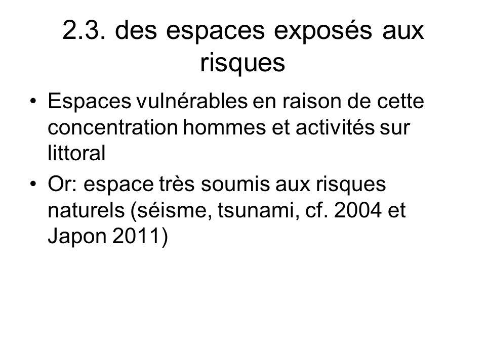 2.3. des espaces exposés aux risques Espaces vulnérables en raison de cette concentration hommes et activités sur littoral Or: espace très soumis aux