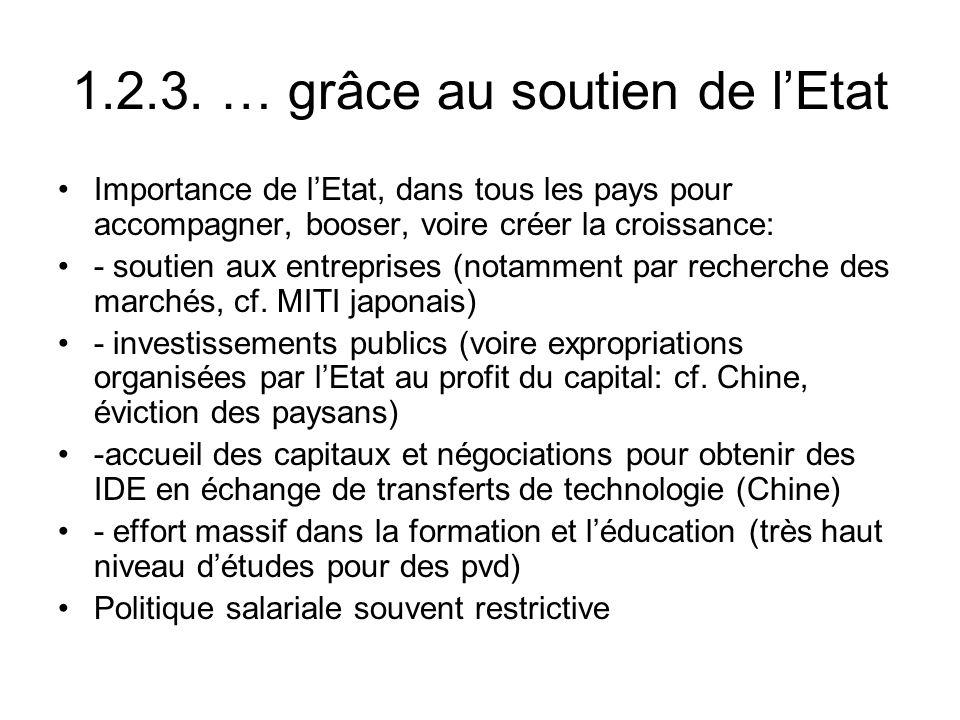 1.2.3. … grâce au soutien de lEtat Importance de lEtat, dans tous les pays pour accompagner, booser, voire créer la croissance: - soutien aux entrepri