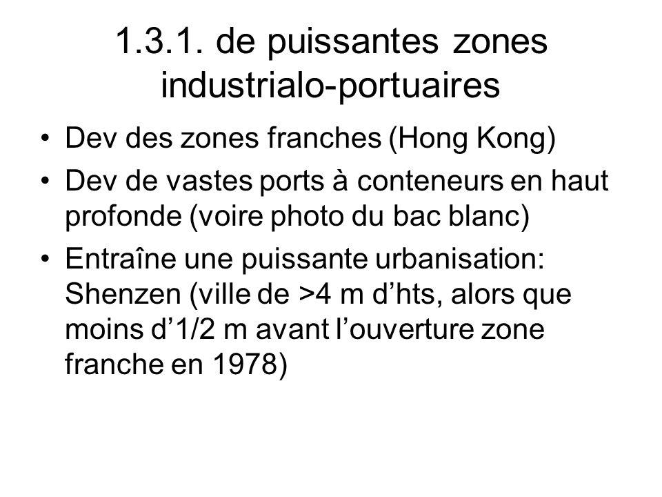 1.3.1. de puissantes zones industrialo-portuaires Dev des zones franches (Hong Kong) Dev de vastes ports à conteneurs en haut profonde (voire photo du