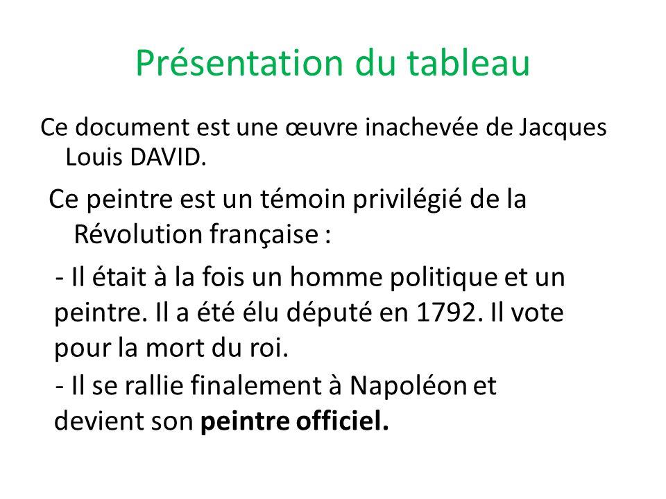 Présentation du tableau Ce document est une œuvre inachevée de Jacques Louis DAVID. Ce peintre est un témoin privilégié de la Révolution française : -