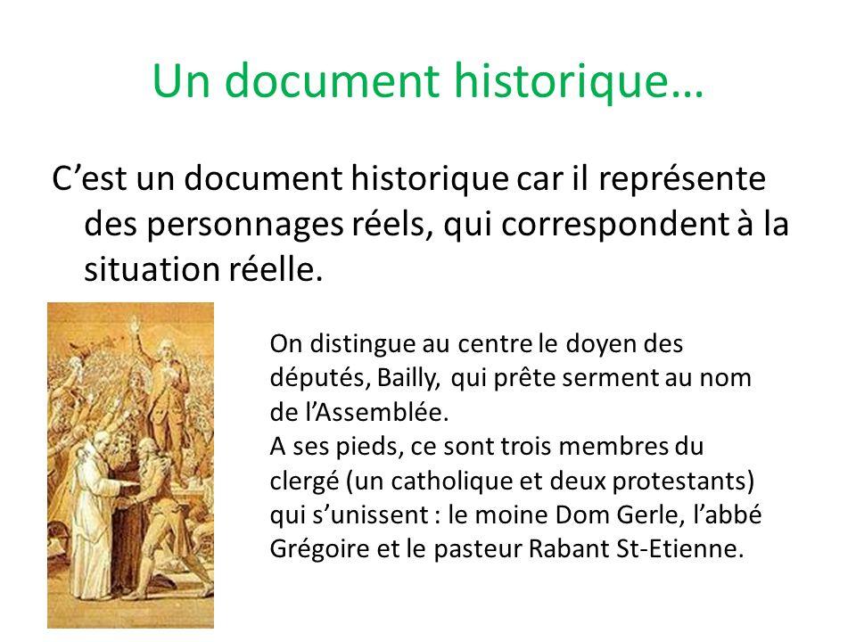 Un document historique… Cest un document historique car il représente des personnages réels, qui correspondent à la situation réelle. On distingue au