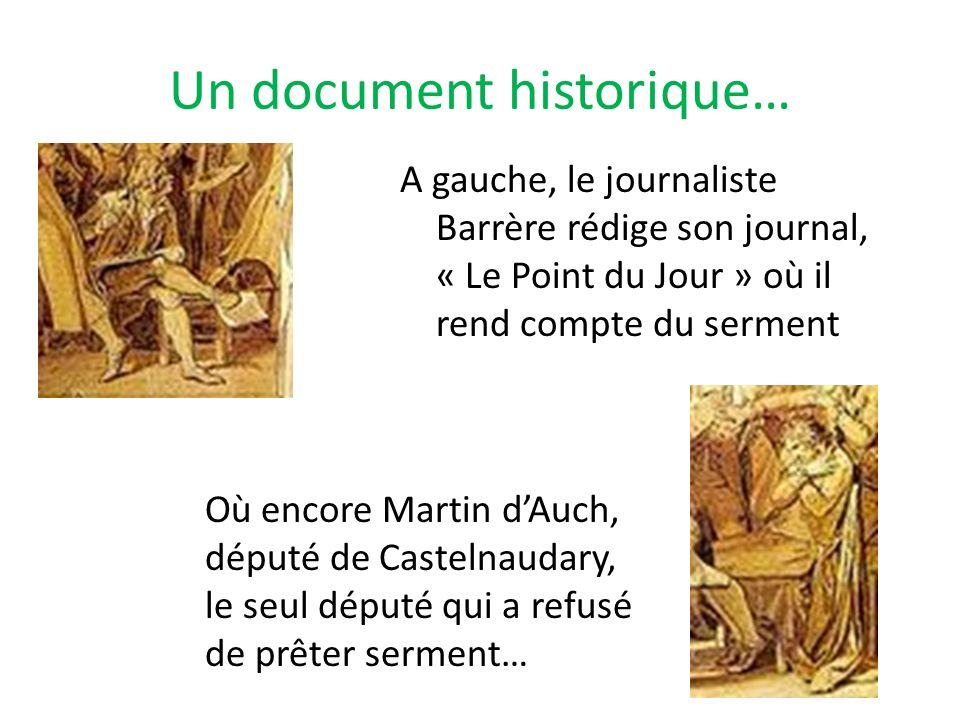 Un document historique… A gauche, le journaliste Barrère rédige son journal, « Le Point du Jour » où il rend compte du serment Où encore Martin dAuch,
