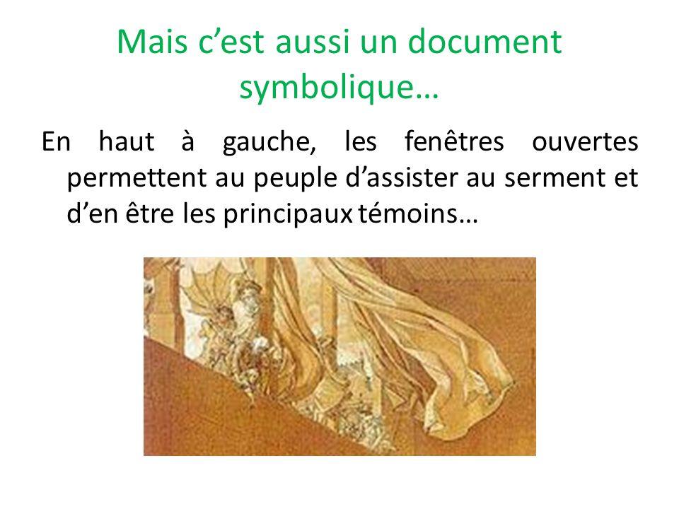 Mais cest aussi un document symbolique… En haut à gauche, les fenêtres ouvertes permettent au peuple dassister au serment et den être les principaux t
