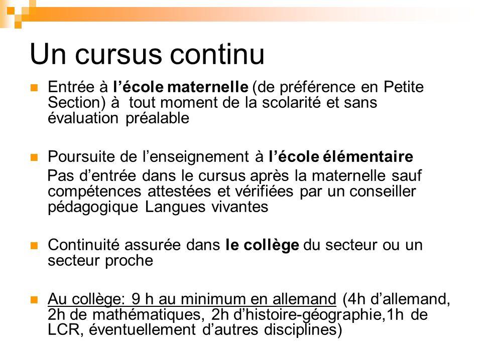 Un cursus continu Entrée à lécole maternelle (de préférence en Petite Section) à tout moment de la scolarité et sans évaluation préalable Poursuite de