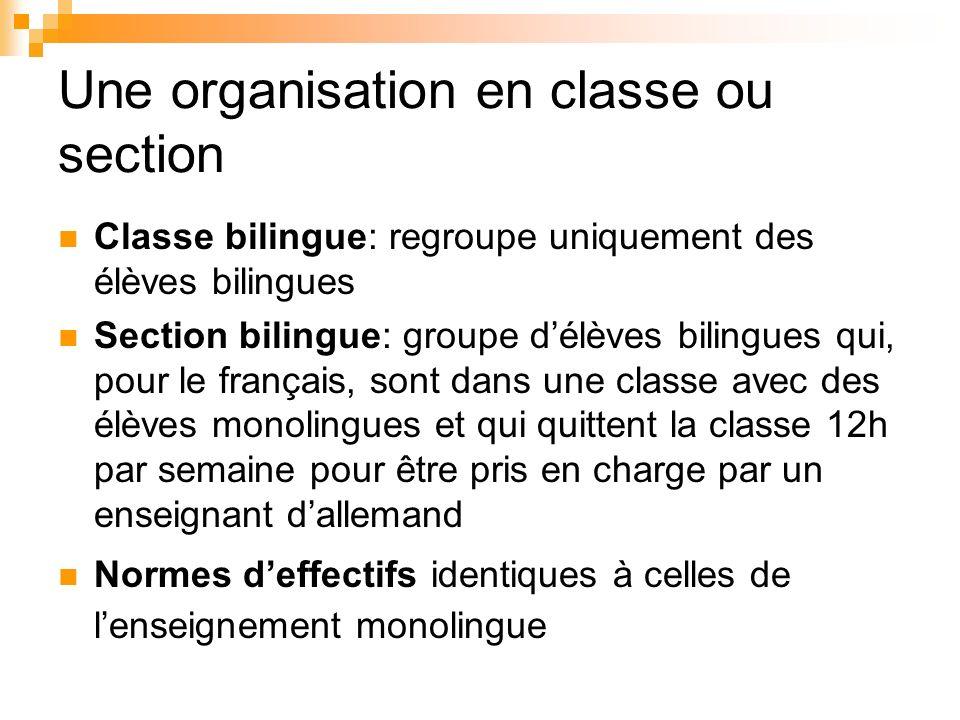 Une organisation en classe ou section Classe bilingue: regroupe uniquement des élèves bilingues Section bilingue: groupe délèves bilingues qui, pour l