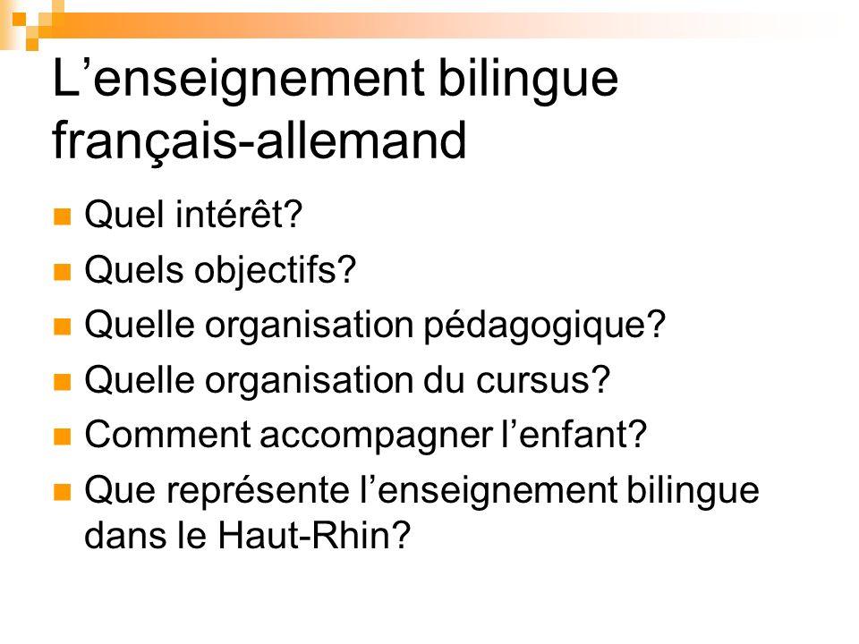 Lenseignement bilingue français-allemand Quel intérêt? Quels objectifs? Quelle organisation pédagogique? Quelle organisation du cursus? Comment accomp
