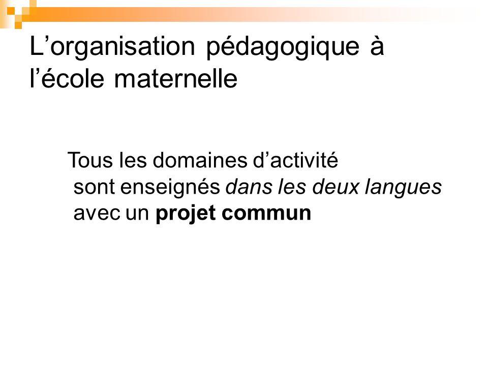 Lorganisation pédagogique à lécole maternelle Tous les domaines dactivité sont enseignés dans les deux langues avec un projet commun