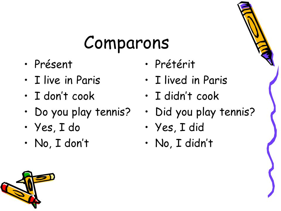 Comparons Présent I live in Paris I dont cook Do you play tennis? Yes, I do No, I dont Prétérit I lived in Paris I didnt cook Did you play tennis? Yes