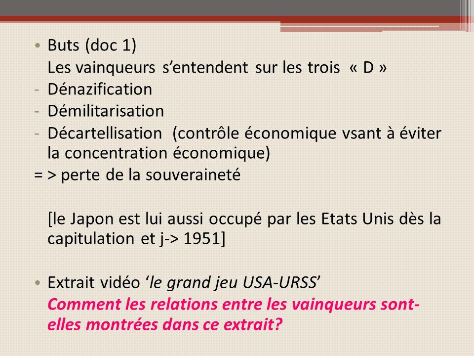 Buts (doc 1) Les vainqueurs sentendent sur les trois « D » -Dénazification -Démilitarisation -Décartellisation (contrôle économique vsant à éviter la