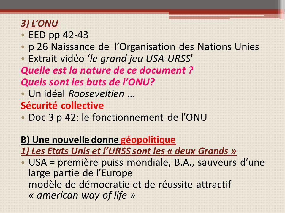 3) LONU EED pp 42-43 p 26 Naissance de lOrganisation des Nations Unies Extrait vidéo le grand jeu USA-URSS Quelle est la nature de ce document ? Quels