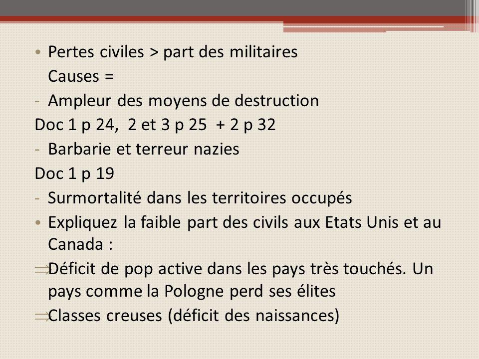 Pertes civiles > part des militaires Causes = -Ampleur des moyens de destruction Doc 1 p 24, 2 et 3 p 25 + 2 p 32 -Barbarie et terreur nazies Doc 1 p