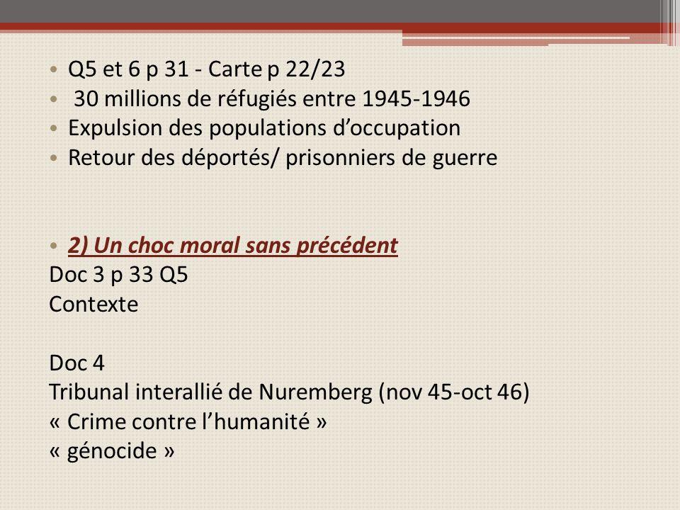 Q5 et 6 p 31 - Carte p 22/23 30 millions de réfugiés entre 1945-1946 Expulsion des populations doccupation Retour des déportés/ prisonniers de guerre