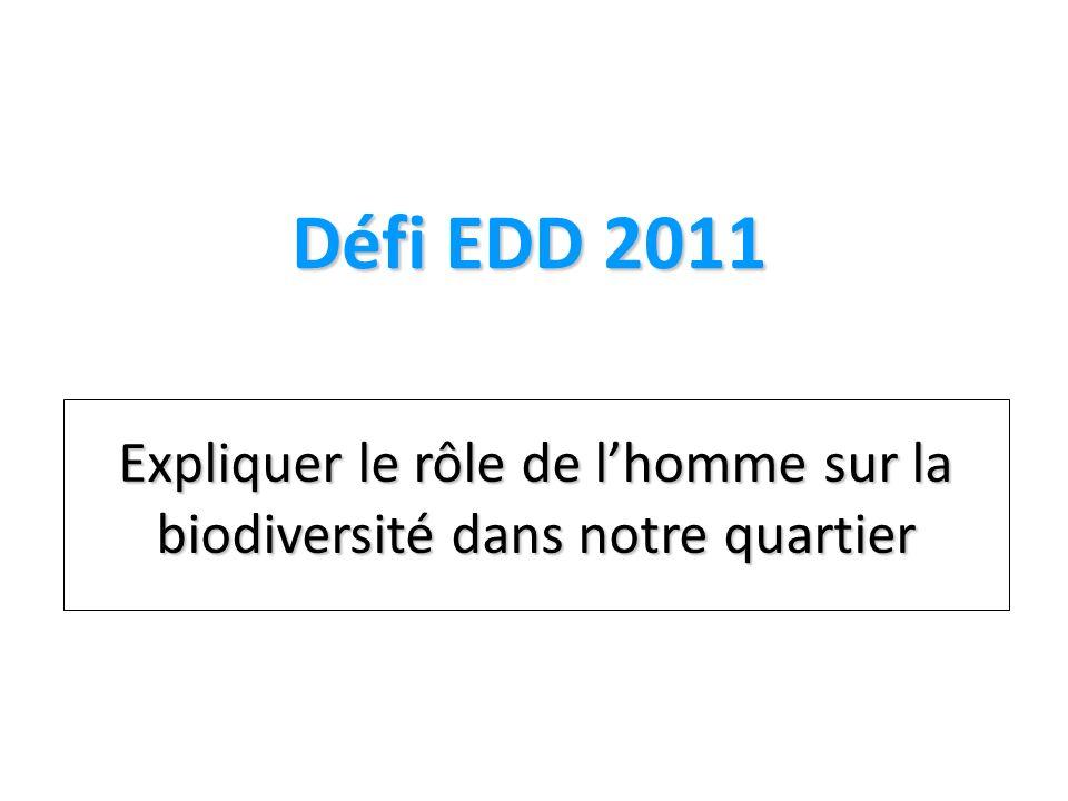 Défi EDD 2011 Expliquer le rôle de lhomme sur la biodiversité dans notre quartier