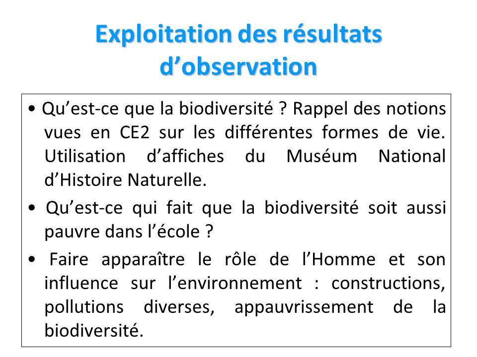 Exploitation des résultats dobservation Quest-ce que la biodiversité .