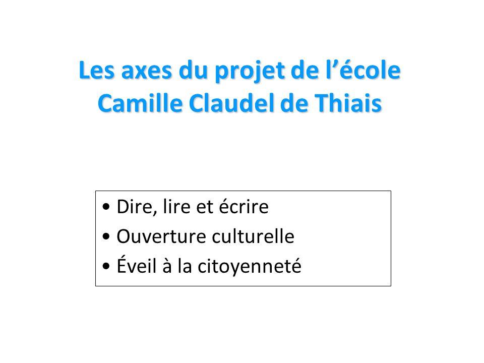 Les axes du projet de lécole Camille Claudel de Thiais Dire, lire et écrire Ouverture culturelle Éveil à la citoyenneté