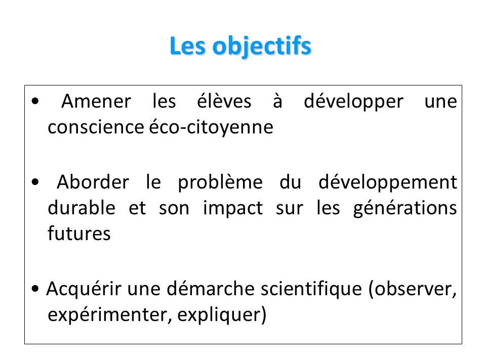 Les objectifs Les objectifs Amener les élèves à développer une conscience éco-citoyenne Aborder le problème du développement durable et son impact sur les générations futures Acquérir une démarche scientifique (observer, expérimenter, expliquer)