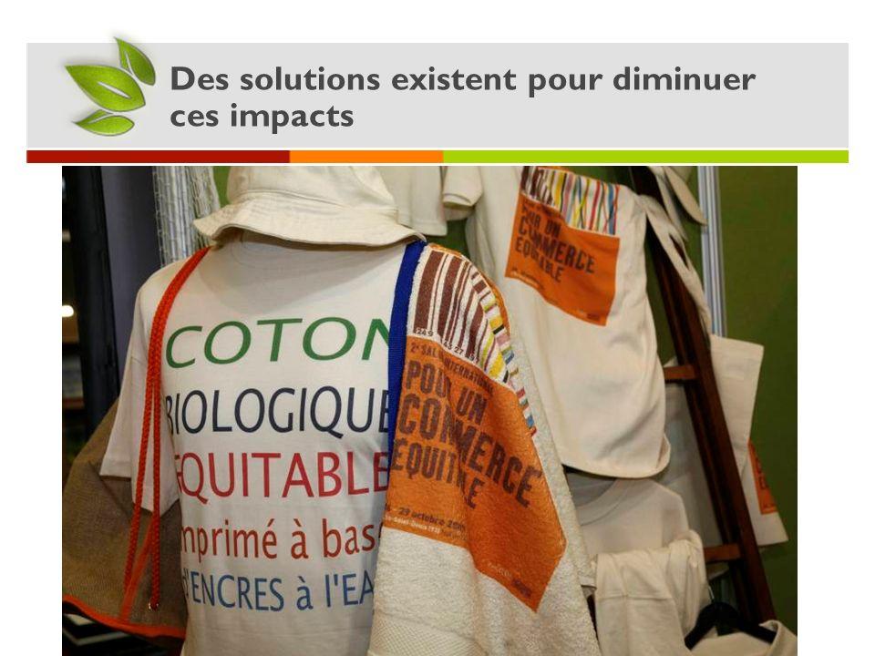 Des solutions existent pour diminuer ces impacts Le T-shirt en coton bio et équitable Pas dutilisation de pesticides et dengrais pour produire du coto