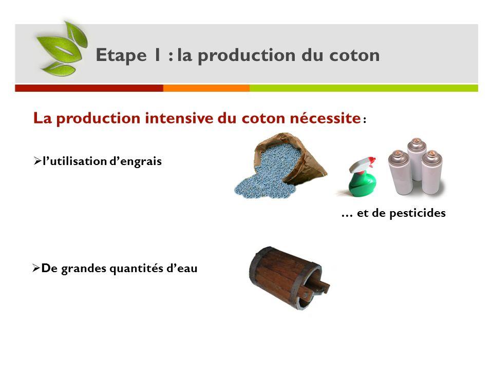 Etape 1 : la production du coton La production intensive du coton nécessite : … et de pesticides De grandes quantités deau lutilisation dengrais