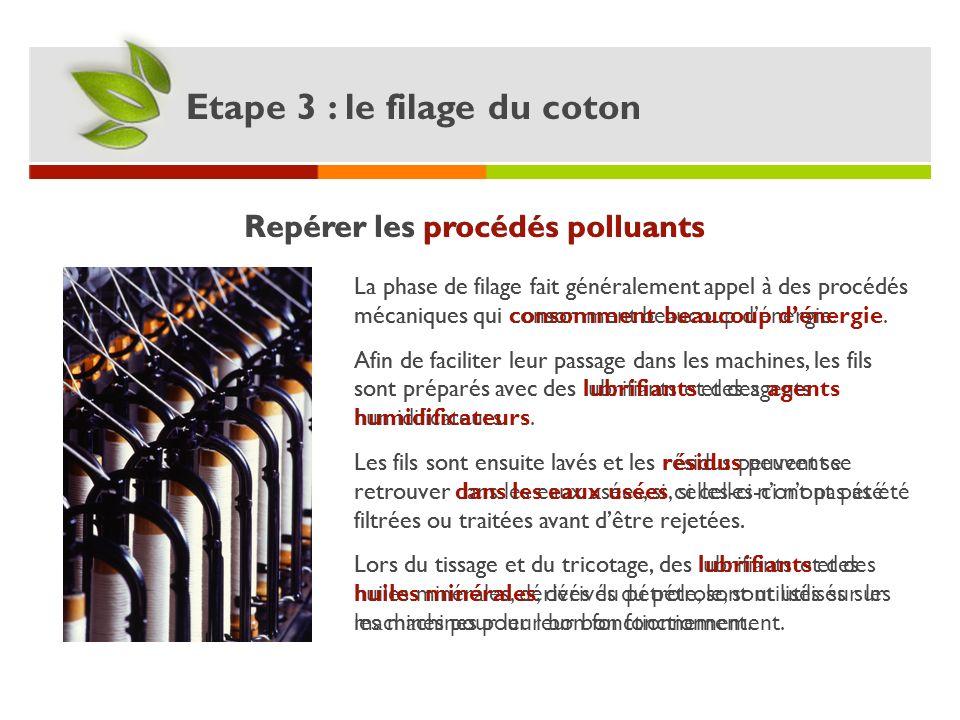 Repérer les procédés polluants Etape 3 : le filage du coton La phase de filage fait généralement appel à des procédés mécaniques qui consomment beauco