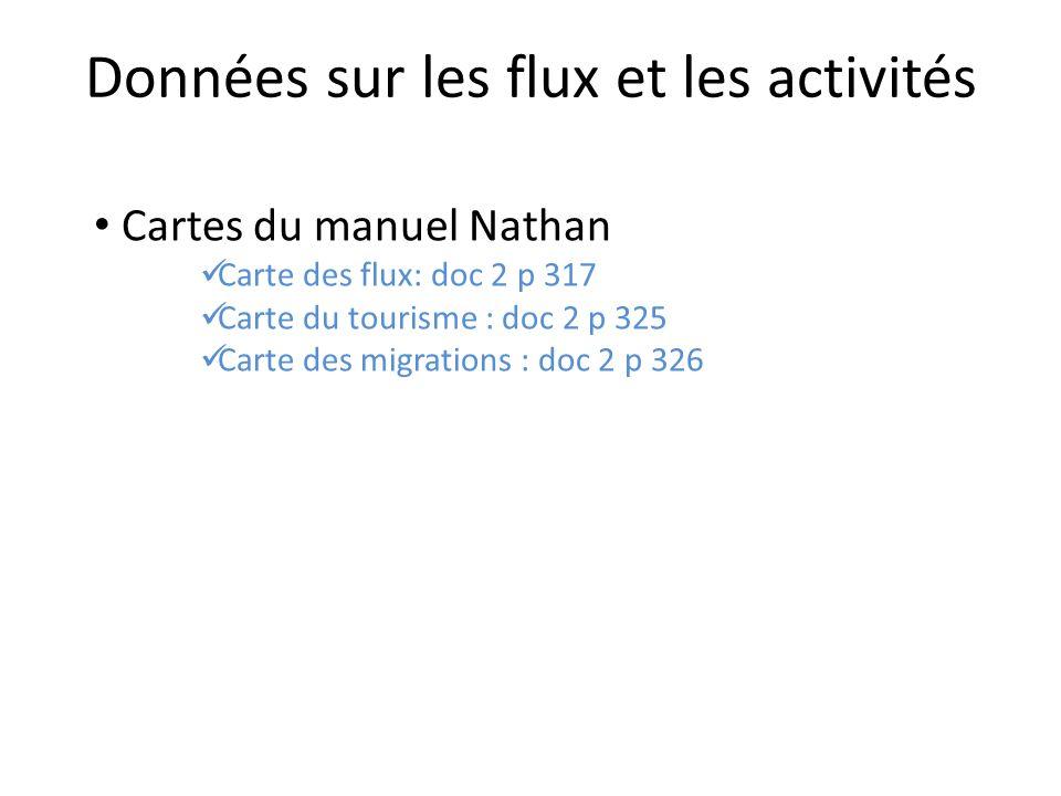 Cartes du manuel Nathan Carte des flux: doc 2 p 317 Carte du tourisme : doc 2 p 325 Carte des migrations : doc 2 p 326 Données sur les flux et les activités