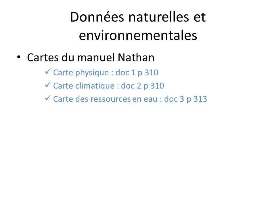 Données naturelles et environnementales Cartes du manuel Nathan Carte physique : doc 1 p 310 Carte climatique : doc 2 p 310 Carte des ressources en eau : doc 3 p 313