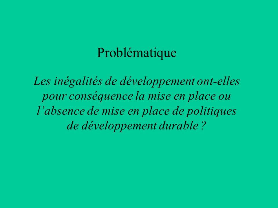 Problématique Les inégalités de développement ont-elles pour conséquence la mise en place ou labsence de mise en place de politiques de développement
