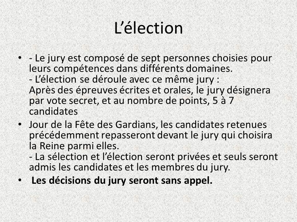 Lélection - Le jury est composé de sept personnes choisies pour leurs compétences dans différents domaines.