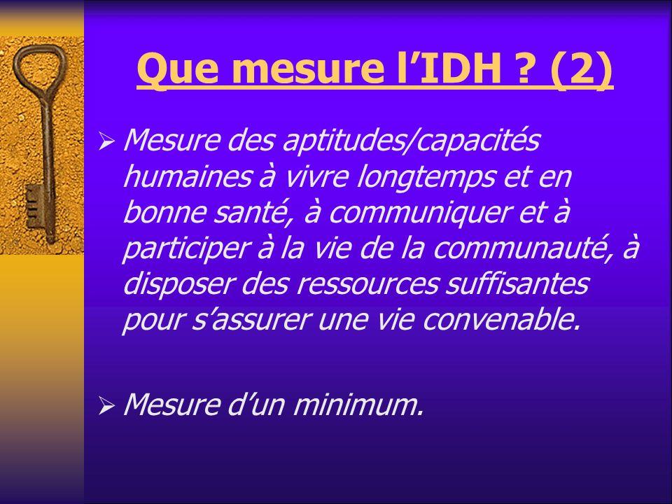 Que mesure lIDH ? (2) Mesure des aptitudes/capacités humaines à vivre longtemps et en bonne santé, à communiquer et à participer à la vie de la commun