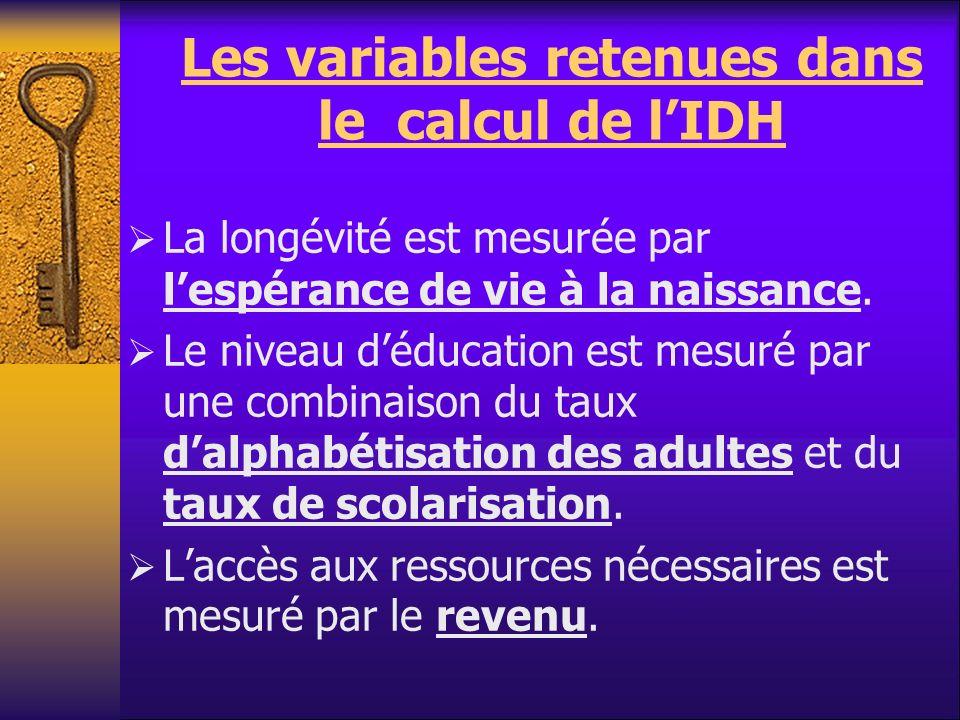 Les variables retenues dans le calcul de lIDH La longévité est mesurée par lespérance de vie à la naissance. Le niveau déducation est mesuré par une c
