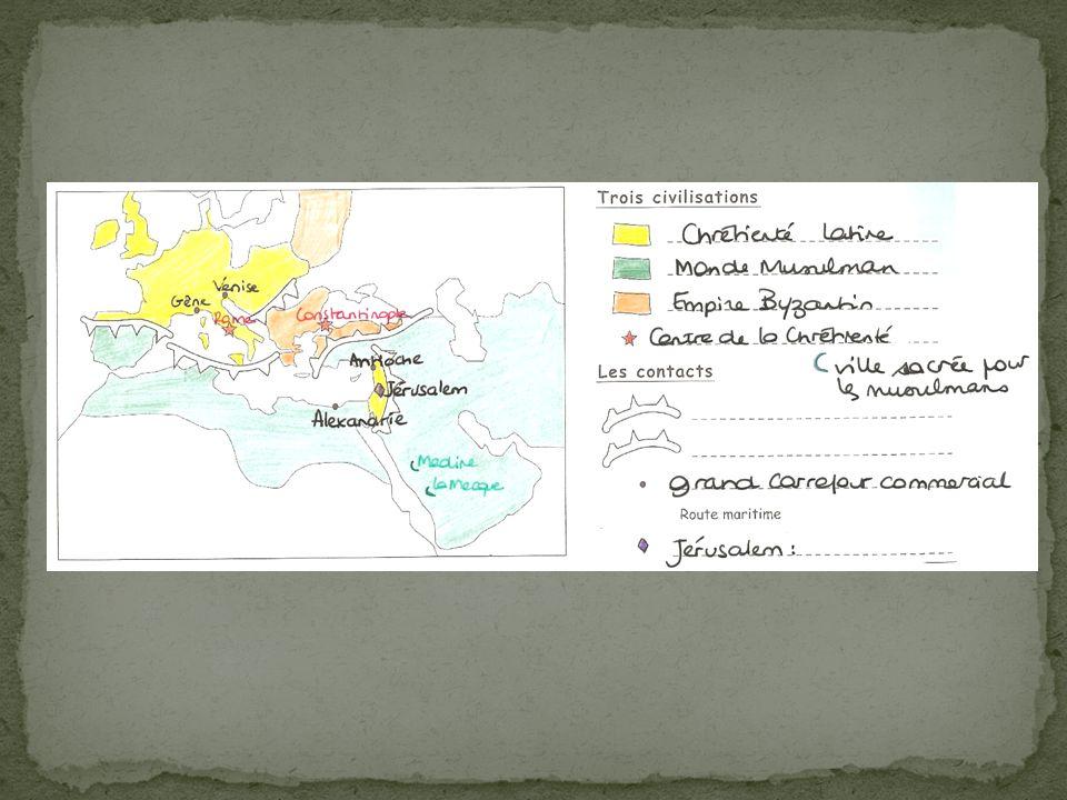 A) Des contacts violents 1) les croisades Module N° 6 : Rappels contexte/motifs Étude de deux textes Réussite de la première croisade et prise de Jérusalem en 1099, grâce notamment à la supériorité des « Francs » (nom donné par les musulmans aux croisés) et aussi à la division des musulmans.
