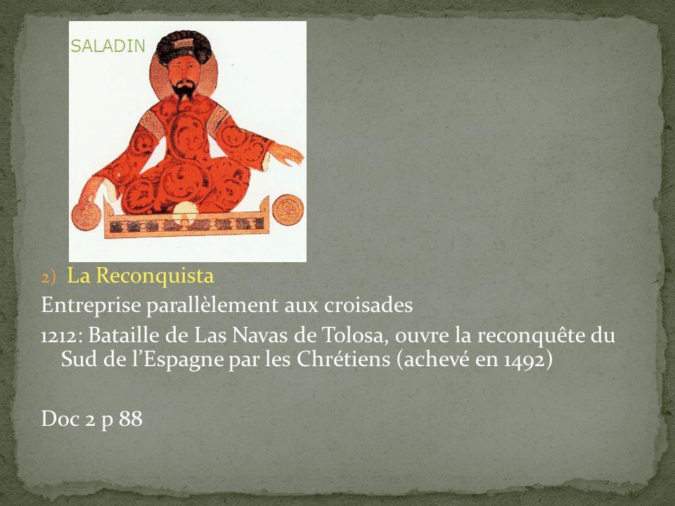 2) La Reconquista Entreprise parallèlement aux croisades 1212: Bataille de Las Navas de Tolosa, ouvre la reconquête du Sud de lEspagne par les Chrétie