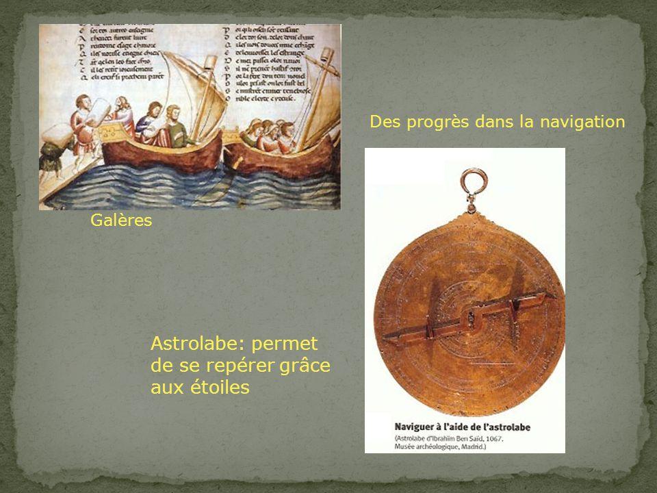 Des progrès dans la navigation Galères Astrolabe: permet de se repérer grâce aux étoiles