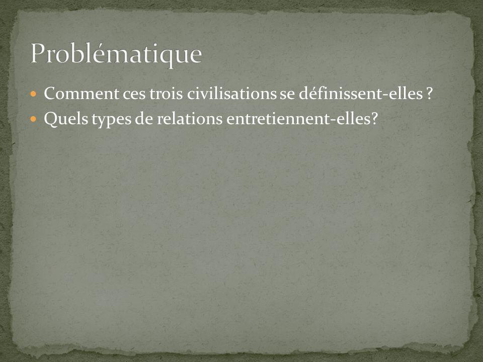 Comment ces trois civilisations se définissent-elles ? Quels types de relations entretiennent-elles?